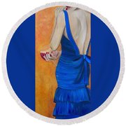 Woman In Blue Round Beach Towel