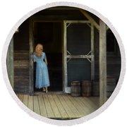 Woman In Cabin Doorway Round Beach Towel