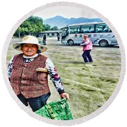 Woman In China Round Beach Towel