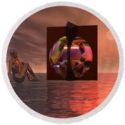 Woman In Contemplation Nude Round Beach Towel