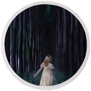 Woman In Forest Round Beach Towel by Joana Kruse