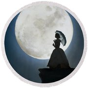 Woman In Historical Clothing On A Cliff With Full Moon Round Beach Towel