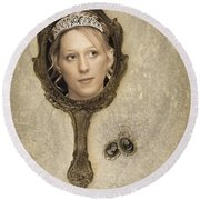 Woman In Mirror Round Beach Towel
