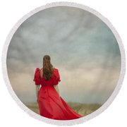 Woman In Red On Moorland Round Beach Towel