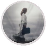 Woman In The Dunes Round Beach Towel by Joana Kruse