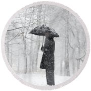 Woman In The Forest With An Umbrella Round Beach Towel