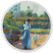 Woman In The Garden Round Beach Towel