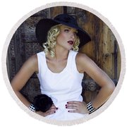 Woman In White Palm Springs Round Beach Towel