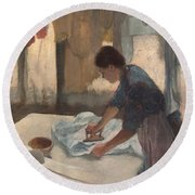 Woman Ironing Round Beach Towel