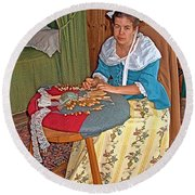 Woman Making Lace In Louisbourg Living History Museum-1744-ns Round Beach Towel