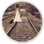 Woman On Railway Line Round Beach Towel