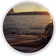 Woman On Sailboat Sunset Round Beach Towel