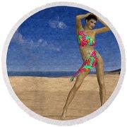 Woman On The Beach... Round Beach Towel