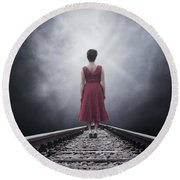 Woman On Tracks Round Beach Towel