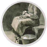 Woman Peeling Potatoes, 1882 Round Beach Towel