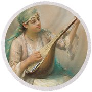 Woman Playing A String Instrument Round Beach Towel
