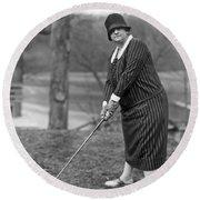 Woman Ready To Play Golf Round Beach Towel