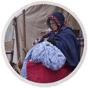 Woman Reenactor Sewing In A Civil War Camp Round Beach Towel
