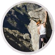 Woman Rock Climbing, India Round Beach Towel