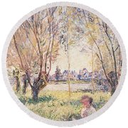 Woman Seated Under The Willows Round Beach Towel