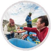 Woman Serving Appetizers, Alsek River Round Beach Towel
