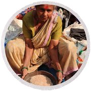Woman Sifting In A Street Market India Round Beach Towel