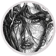 Woman Sketch Round Beach Towel