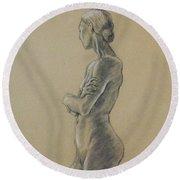 Woman Standing Round Beach Towel