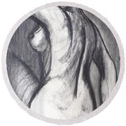 Woman Turning Her Back - Female Nude Round Beach Towel