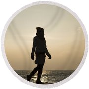 Woman Walking On The Lake Front Round Beach Towel