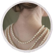 Woman Wearing A Pearl Necklace Round Beach Towel