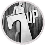 Woman With 7 Up Logo Round Beach Towel