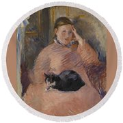 Woman With A Cat Round Beach Towel