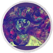 Woman With A Hat Round Beach Towel