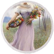 Woman With Flowers Round Beach Towel