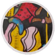 Woman With Head Tie And Bangles On Her Wrist Stirring The Wheat Corn On A Bowl Round Beach Towel