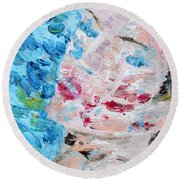Woman With Necklace - Oil Portrait Round Beach Towel