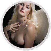 Woman With Nude Breast In Chair 1286.02 Round Beach Towel
