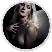 Woman With Nude Breast In Chair 1286.03 Round Beach Towel