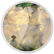 Woman With Parasol Dedication Round Beach Towel