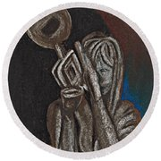 Woman With Trumpet Round Beach Towel