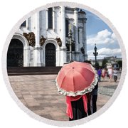 Woman With Umbrella - Moscow - Russia Round Beach Towel