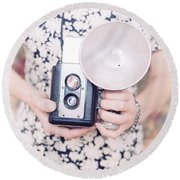 Woman With Vintage Camera Round Beach Towel