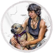 Womans Best Friend Round Beach Towel by John Haldane