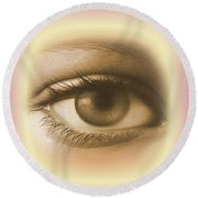 Womans Eye Round Beach Towel