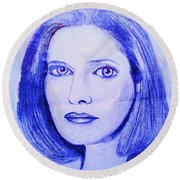 Womans Portrait  Round Beach Towel