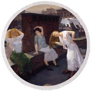 Women Drying Their Hair 1912 Round Beach Towel