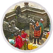 Women Get Bagmati River Holy Water From Ornate Fountains In Patan Durbar Square In Lalitpur-nepal  Round Beach Towel