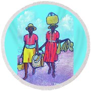 Women On Beach At Grenada Round Beach Towel