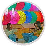Women Working Together At Borsang Umbrella And Paper Factory In Chiang Mai-thailand Round Beach Towel